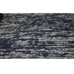 Chodnik bawełniany z lnem, ręcznie tkany, ciemno niebiesko-ecru, 65x120