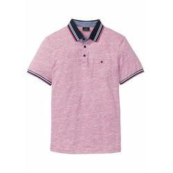 Shirt polo z kieszonką na wys. piersi, krótki rękaw bonprix jasnoróżowy melanż