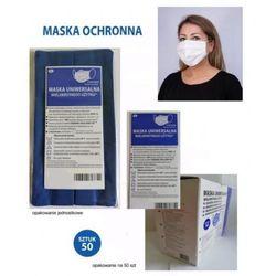 Maska fason chirurgiczny z jonami srebra produkt polski z atestem, maseczka uniwersalna DO PRANIA, 2 warstwowa z gumkami i noskiem