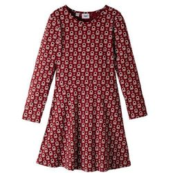 Sukienka z dżerseju dziewczęca bonprix czerwony kasztanowy z nadrukiem
