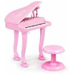 Fortepian, organki, keyboard, pianino z mikrofonem, różowe