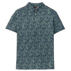 Shirt polo w kwiatowy wzór bonprix niebiesko-zielony w kwiatowy deseń