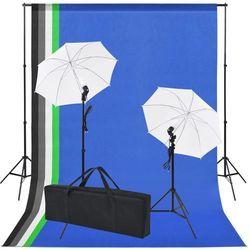 vidaXL Sprzęt do studia fotograficznego: tło 5 kolorów i 2 parasolki Darmowa wysyłka i zwroty