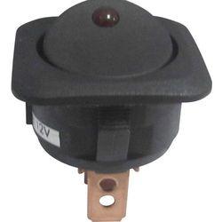 Przełącznik kołyskowy SCI R13-203L-SQ, podświetlany, O 24 mm, 25 A, 12 V, czerwony