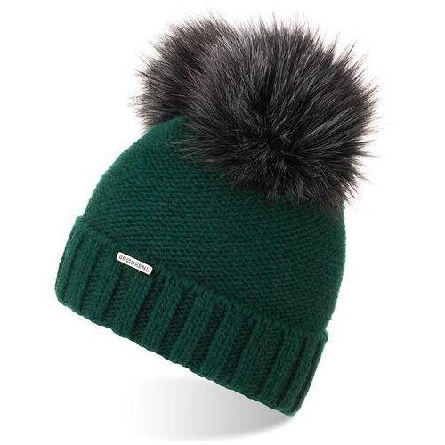 Nakrycia głowy i czapki, Czapka damska zimowa z polarem i pomponami brodrene cz22 zielona - zielony