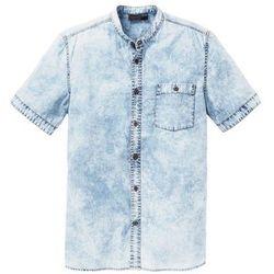 Koszula dżinsowa z krótkim rękawem Slim Fit bonprix niebieski