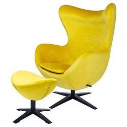 Fotel EGG SZEROKI VELVET BLACK z podnóżkiem żółty.20 - welur, podstawa czarna