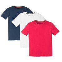 Koszulki z krótkim rękawkiem dziecięce, T-shirt basic (3 szt.) bonprix biały + ciemnoniebieski + czerwony