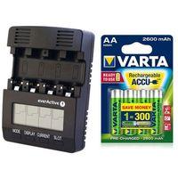 Ładowarki do akumulatorków, ładowarka everActive NC-3000 + 4 x akumulatorki Varta Pro R2U R6 AA 2600mAh