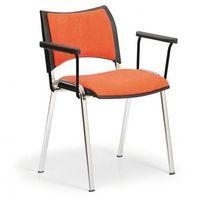 Pozostałe meble biurowe, Krzesła konferencyjne SMART - chromowane nogi, z podłokietnikami, pomarańczowy