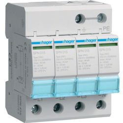 Hager SPD Ogranicznik przepięć T2, 4P, sieć TN-S, Imax 40kA, Up≤1,25kV klasa C SPN415
