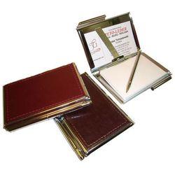 ETUI NA WIZYTÓWKI OSOBISTE KW-38S - metalowe z notesikiem i długopisem wykończone skórą naturalną - kolekcja CLASSIC TOMI GINALDI rabat 5%