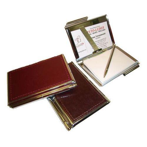 Wizytowniki, ETUI NA WIZYTÓWKI OSOBISTE KW-38S - metalowe z notesikiem i długopisem wykończone skórą naturalną - kolekcja CLASSIC TOMI GINALDI