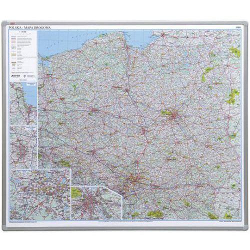 Mapy i atlasy turystyczne, Tablica mapa 2x3 officeBoard – mapa drogowa Polski 102,5x120cm płyta magnetyczna lakierowana