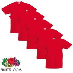 Fruit of the Loom 5 koszulek dla dzieci, 100% bawełny, czerwonych, rozmiar 128 cm Darmowa wysyłka i zwroty