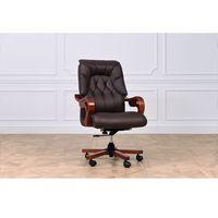Fotele i krzesła biurowe, Fotel skórzany MAKLER brązowy