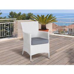 Krzesło ogrodowe rattan białe poducha szara ITALY