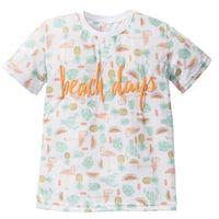 Koszulki z krótkim rękawkiem dziecięce, T-shirt z neonowym nadrukiem bonprix biały z nadrukiem