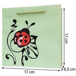 Torebka ozdobna prezentowa ręcznie malowana 17x17 - biedronka