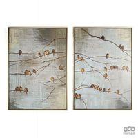 Obrazy, Obraz ręcznie malowany - Ptaki na gałęzi 102413