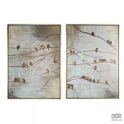 Obraz ręcznie malowany - Ptaki na gałęzi 102413