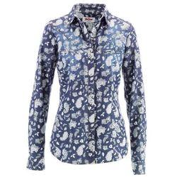 Koszula dżinsowa bonprix niebiesko-biały z nadrukiem