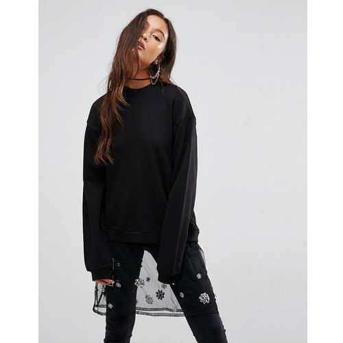 Bluzy damskie, ASOS Sweatshirt with Embellished Mesh Layer - Black