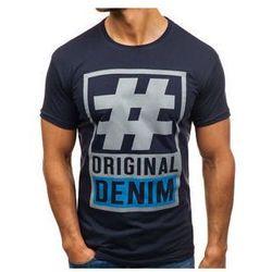 T-shirt męski z nadrukiem granatowy Denley 008