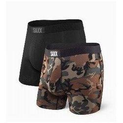 Bokserki męskie SAXX VIBE BOXER 2 PACK - Black - Wood Camo - Brązowy ||Camo ||Czarny