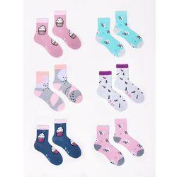 Skarpety dziewczęce bawełniane 6PAK słodkie w pastelowe kolory 35-38