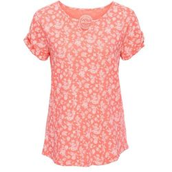 T-shirt z nadrukiem, krótki rękaw bonprix łososiowy neon