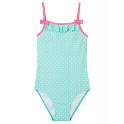 Kostium kąpielowy dziewczęcy bonprix niebieski mentolowy - różowy