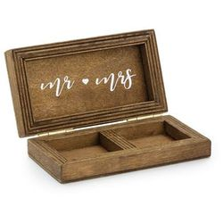 Drewniane pudełko na obrączki Mr Mrs - 1 szt.
