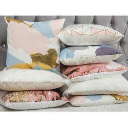 Poduszka dekoracyjna w łaty bawełniana fioletowa/srebrna 45 x 45 cm