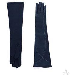 Długie granatowe rękawiczki damskie zamsz z bawełną - granatowy