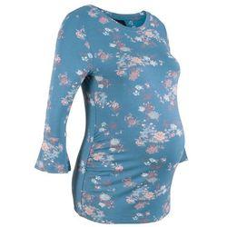 Shirt ciążowy z rozkloszowanymi rękawami i nadrukiem bonprix niebieski dżins w kwiaty