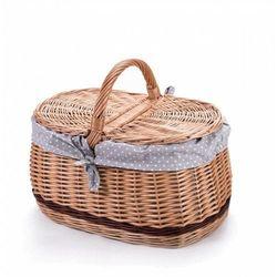 Wiklinowy kosz piknikowy samochodowy bagażowy, na piknik, z obszyciem