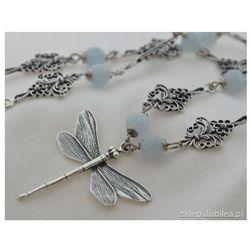Ważka i naturalne akwamaryny - srebrny naszyjnik, kolor niebieski